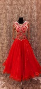 Плаття Стандарт червоне з бежевою сіткою.